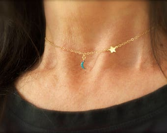 Turquoise moon and star necklace - 14K gold-filled chain -  teeny tiny charms - dainty jewelry -tiny gold moon - tiny gold star