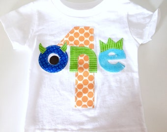 Monster Birthday Shirt First Birthday Boys Shirt gift photo prop funny
