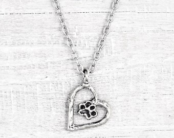 Puppy Heart Necklace - Puppy Paw Necklace - Heart Paw Necklace - Dog Necklace -  N726