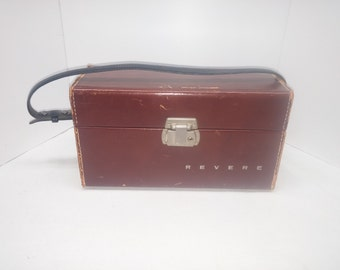 Vintage REVERE Leather Camera Case - Made in USA - Chrome Hardware - Top Grain Cowhide