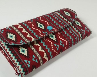 Cash Envelope Wallet with Dividers n Card Slots, Phone Wallet, for use with the Dave Ramsey System -Tribal