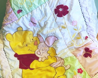 Winnie the Pooh quilt with Free vintage baby book, pink quilt blanket/ baby shower gift