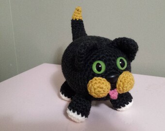 Kitty Cat- Crochet Amigurumi Stuffed Animal Plush- Black Gold