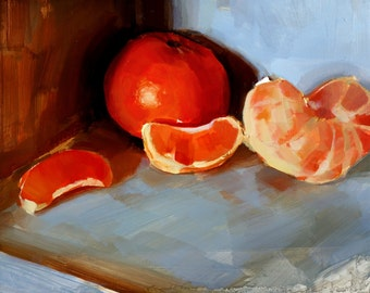 "Archival 8"" x 12"" Art Print / Free Shipping / Mandarin Sections (no.150) Oil Painting Realism Still Life Small Fruit M.William"