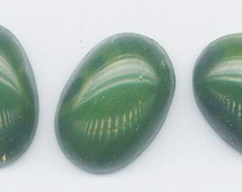 Two rare vintage Japanese Cherry Brand glass cabochons - very subtly swirled opaque deep dark green - 25 x 18 mm