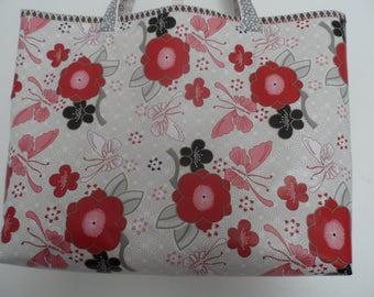 Tote Bag - Handmade Tote Bag - Vinyl Tote Bag - Tote Bag - Flower prints Tote Bag - Swimming Tote Bag - Market Tote Bag - Shopping Tote Bag