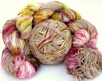 "Self Striping Sock Yarn, Superwash Merino and Nylon 75/25 Fingering Weight, in ""Orchard Garden"""