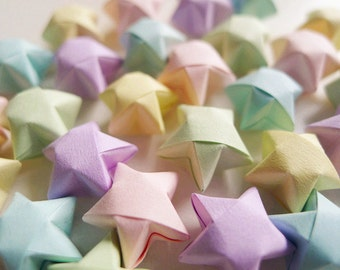 Origami Lucky Stars - Pastel Colors Wishing Stars/Embellishment/Gift Enclosure/Home Decor