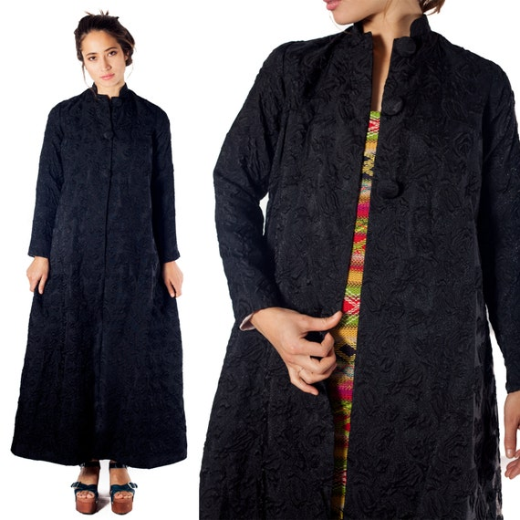 60s Vintage Black Floor Length Maxi Tapestry Trapeze A Line Coat Jacket Jacquard Brocade Damask Baroque Goth