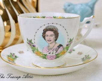 Coalport Queen Elizabeth II Commemorative Birthday Teacup And Saucer,  Bone China Tea Cup Set, ca. 1986