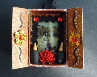 Witch Matchbox Shrine Ornament.  Christmas Ornament.  Yule.  Winter Solstice