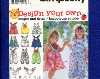 Simplicity 9008 Sun in the Fun Dresses and Rompers for Little Girls Size 6 months..1..2 UNCUT