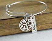 Sterling Silver Family Tree Bangle Bracelet, Tree of Life Bracelet. Family Tree of Life Bangle. Bangle Bracelet. Grandmother Gift
