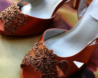 Copper Wedding Shoes Dyed, Small Platform, Peep Toe Slingbacks, Fringe, Dancing Shoes, Pageant, Prom, Mother of the, Bridesmaids, Cinnamon,