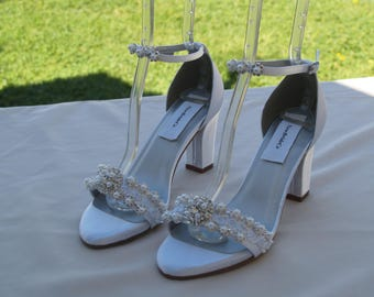 Wedding White Shoes Are Deco thick heels Pearls Trimmed, Satin Peep Toe square heels, 2 1/2 inch heels,