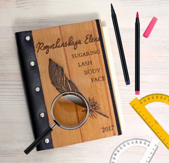 Feather Wooden notebook - Custom Notebook - Wooden diary - Personalized Engraved