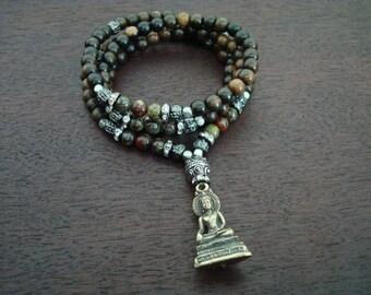 Women's Healing Heart Buddha Mala - Healing & Protection Mala Necklace or Wrap Bracelet - Yoga, Buddhist, Prayer Beads, Jewelry