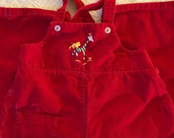 Kids Vintage • Red Corduroy Overalls with Embroidered Giraffe / Size 12-18 Months / Handmade Vintage