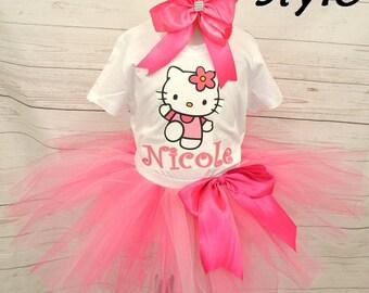 Hello Kitty Tutu Set, Hello Kitty Birthday Shirt, Hello Kitty birthday outfit, FREE SHIPPING,  tutu,colorful tutu,girl birthday outfit