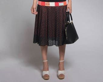 Summer skirt - Semi long skirt - Black and coral skirt with patchwork - Skirt with lace - Made in Quebec