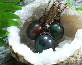 jasper/bloodstone spheres // green and red stone orbs. antiqued copper. earthy tones. your choice!