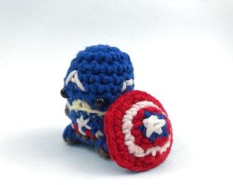 "Captain America from the Avengers Amigurumi Kawaii Keychain Miniature Doll ""Pod People"""