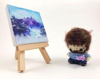 "Bob Ross Amigurumi Kawaii Keychain Miniature Doll ""Pod People"""