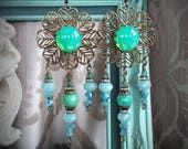 Limited Edition of 3 - Spring Rain Mandala Earrings - Boho Gypsy Bohemian statement earrings in green and blue