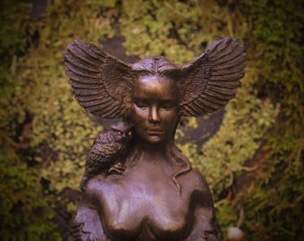 Reserved for Cindy - July 3 of 3 Pewter Owl Goddess, Talking Stick, Bird Woman with Wings, Sculpture by ShapingSpirit, Debra Bernier