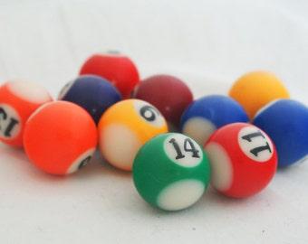 Pool Balls   Tiny Minature Colorful Pool Ball Toy Set Decorative