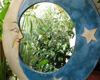 vintage,round,funfair,circus handmade mirror, man in the moon,stars, fortune tellers mirror