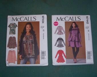 McCalls 7434 or McCalls 7442...Misses' Casual Peasant Style Boho Top Pattern..Misses Peplum Jacket & Coat...New Uncut....Very Feminine