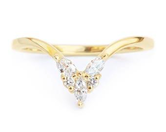 Diamond V Ring, Side Wedding Band, Diamond Stacking Ring - Unique Chevron Diamond V Ring, Butterfly Ring, Diamond 14K Gold Band Ring