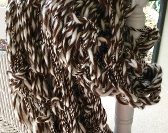 NEW Hand Knit Scarf, in brown and ivory , made of  Hand Spun Hand Dyed Yarn