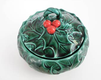 Lefton Holly Leaves & Berry Christmas Lidded Candy Dish