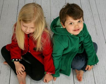 Children's Character Coats in Fleece, Wool or Lightweight Cotton Twill. Dinosaur, Ladybug, Bunny and many more, Wild & Woolly