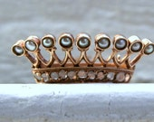 Awesome Antique Victorian Pearl and Diamond Crown Pin in 14K Rose Gold.