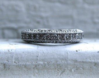 Beautiful Filigree Vintage 14K White Gold Diamond Wedding Band - 0.54ct.
