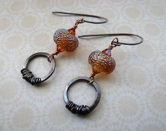 handmade copper and lampwork glass orange earrings, UK jewellery