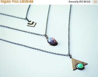 HOLIDAY SALE geometric layer necklace, triangle layer necklace, opal layer necklace, chevron layer necklace, triple necklace