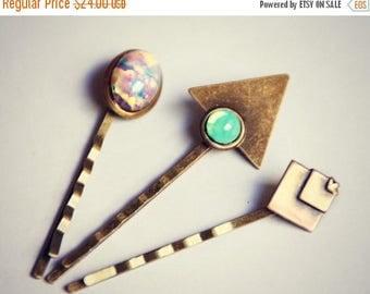 SUMMER SALE geometric opal bobby pin set, triangle bobby pin, pink opal bobby pin, green opal bobby pin, geometric hairpins, opal hairpin