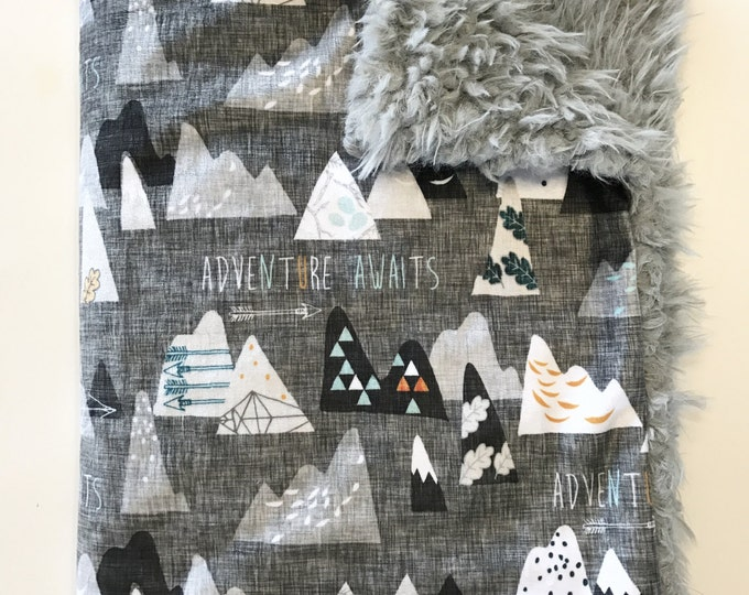 Featured listing image: Mountains Baby Boy Blanket. Adventure Awaits. Baby MINKY Blanket, Grey Baby Bedding. Faux Fur Baby Blanket, Personalized Baby Boy Blanket