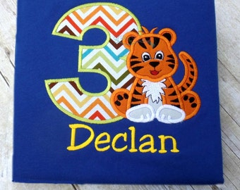 Tiger birthday shirt, jungle themed birthday shirt with name and number