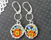 Earrings, Broken China Jewelry, Broken China Earrings, Blue and Orange Floral China, Art Deco, Sterling Silver, Soldered Jewelry