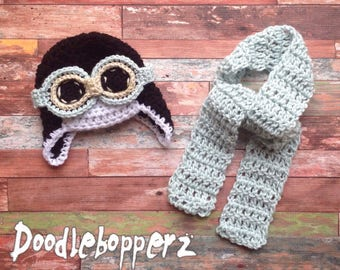 Newborn Aviator Hat, 3 Piece Set, Aviator, Goggles, Scarf, Black, Mint, Blue/Green, Gold, White, Baby, Boy, Newborn Photo Prop, Ready to Shi