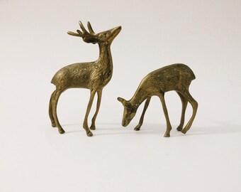 Set of 2 Brass Deer