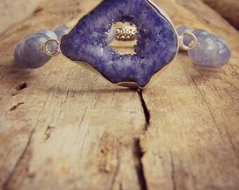 Purple Druzy Bracelet • Angelite Stone • Gemstone • Spiritual • Semiprecious Jewelry • Healing Bracelet • February Birthstone Bracelet