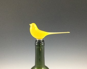 Glass bird wine stopper/ Midcentury modern/ Modern home decor/ Kitchen decor