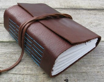 Leather journal / teal and brown / 320 pages