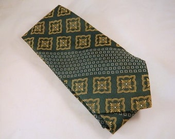 Vintage Tie / Wide Green Tie / Dark Green Striped with White Square Checks and Gold Paisley Square Necktie
